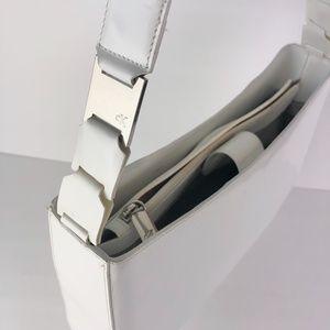 90's Y2K Calvin Klein White Leather Shoulder Bag